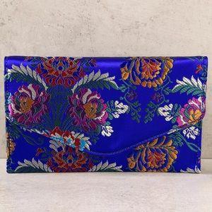 Royal Blue satin envelope clutch